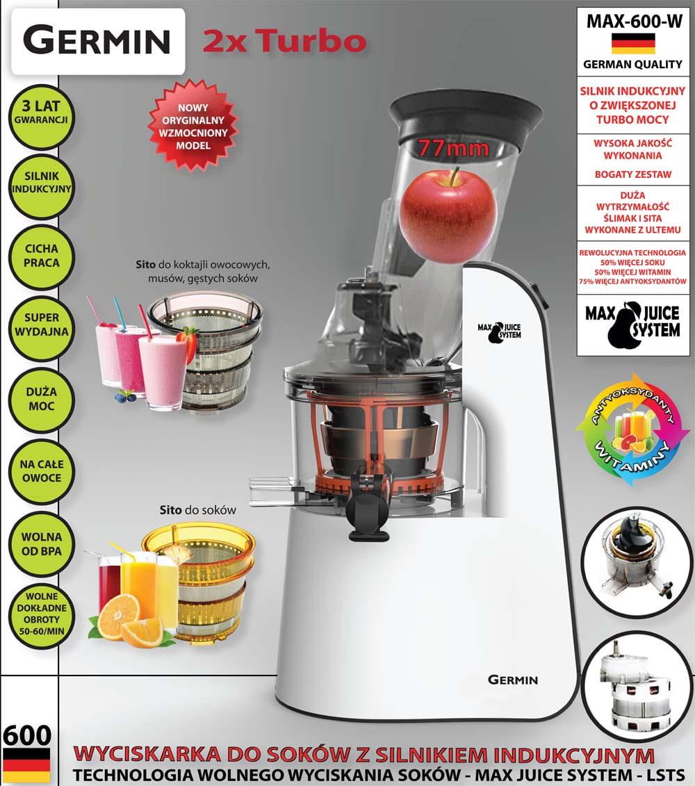 Wyciskarka do soków MAX 600 W CZARNA Germin